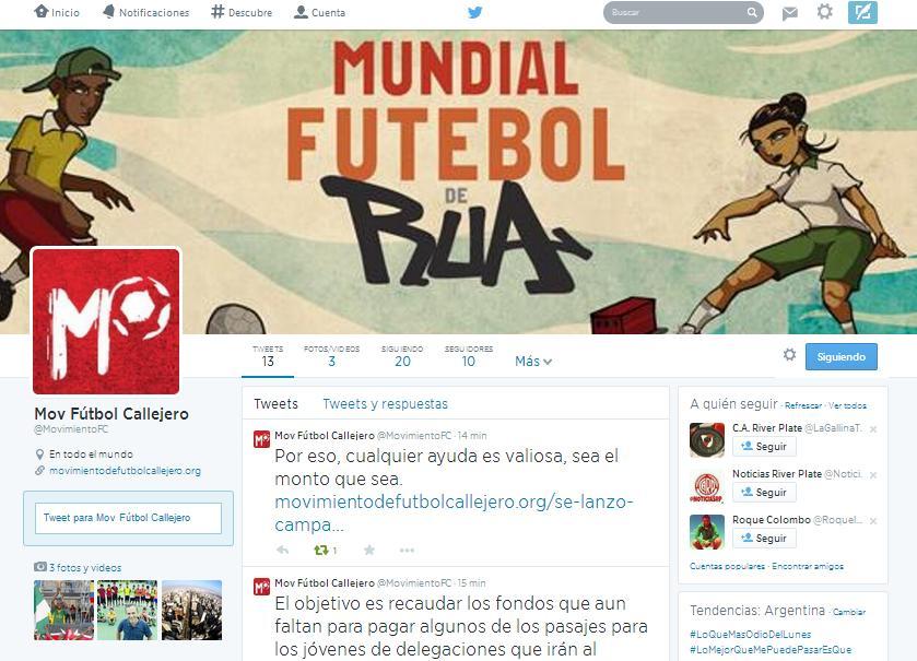 Twitter Movimiento de Fútbol Callejero