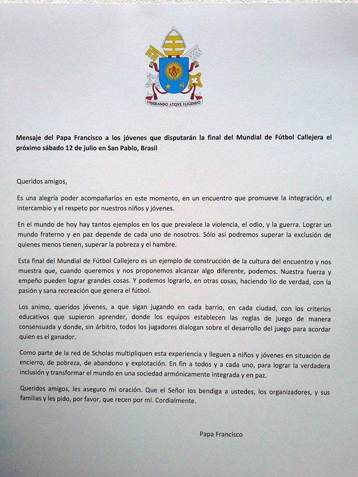 Carta Papa Francisco Mundial Fútbol Callejero Brasil 2014