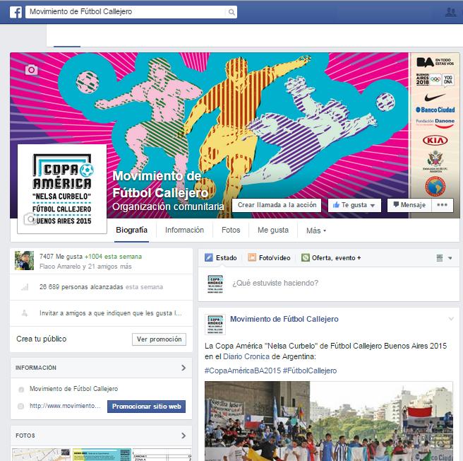 Facebook Copa América Fútbol Callejero Buenos Aires 2015